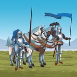Medieval warriors on war. Vector illustration graphic design Stock Photography