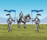 Medieval warriors on war. Vector illustration graphic design Royalty Free Stock Photo