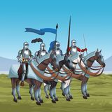 Medieval warriors on war. Vector illustration graphic design Royalty Free Stock Image