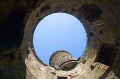 Medieval watchtower. Low angle view inside ruins of medieval watchtower, Conway Castle, Wales Royalty Free Stock Image