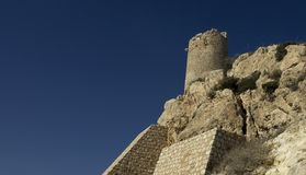 Medieval watchtower on cliff. Low angle view of historical watchtower on cliff with blue sky background Royalty Free Stock Photography
