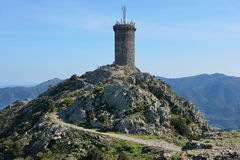 Medieval watchtower stone tower Pyrenees France Stock Photo