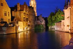 Medieval water city by night Royalty Free Stock Photos