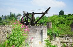 Medieval water well in Chinon castle Royalty Free Stock Images