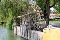 Medieval waterwheel watering Stock Photo