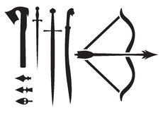 Medieval weapon icons. Vector illustration of the medieval weapon icons Royalty Free Stock Photo
