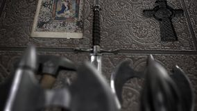 Medieval Weapon Inside a Church. Medieval Weapon Inside an Old Churchn stock footage