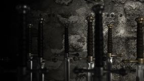 Medieval weaponry fill with swords stock footage