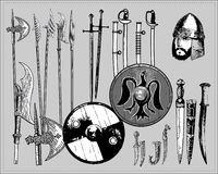 Medieval weapons. Isolated pictures of medieval weapons Stock Photo
