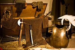 Medieval weapons. In Italian castle, close to Turin, north Italy stock images