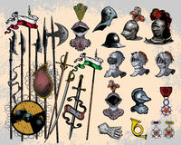 Medieval weapons. Vector illustration of medieval weapons isolated on light background Royalty Free Stock Image
