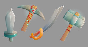 Medieval weapons and ammo. Blacksmith workshop crafts, medieval weapons and ammo, steel iron sword, saber heavy hummer and pickaxe. Game and app ui icons Stock Images