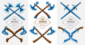 Medieval weapons of ancient vikings Stock Photo