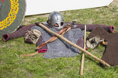 Medieval weapons, armor at the festival of historical reconstruction Stock Photos