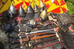 Medieval weapons. Armor, medieval weapons and historical accessories Stock Image