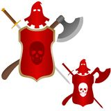 Medieval weapons executioner. The executioner mask, a sword and an ax to commit penalty. Shield with a skull on it. The illustration on a white background Royalty Free Stock Photography