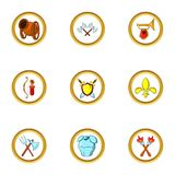Medieval weapons icon set, cartoon style Royalty Free Stock Photography