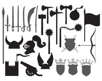 Medieval weapons icons vector illustration
