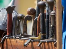 Medieval weapons. Medieval metal weapons for sale Stock Image