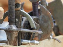 Medieval weapons. Medieval metal weapons duriing festival Royalty Free Stock Image