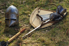 Medieval weapons sword shield and helmet 3 Royalty Free Stock Image