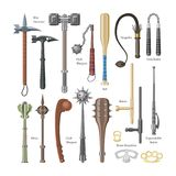 Medieval weapons vector ancient protection warrior and antique metal hammer illustration weaponry set of flail-weapon stock illustration