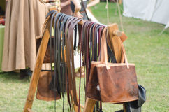 Medieval week 28. Medieval week in Sweden, Visby, Gotland. Marketplace with belts royalty free stock images