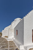 Medieval White orthodox church in Mykonos, Greece Stock Photos