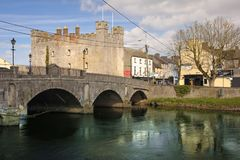 Whites Castle. Athy. Kildare. Ireland. Medieval Whites Castle and Crom-a-Boo Bridge over the river Barrow, . Athy. county Kildare. Ireland royalty free stock photos