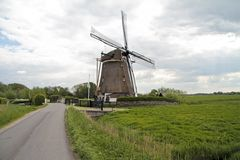 Medieval windmill in  the Netherlands Stock Photos
