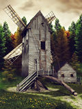 Medieval windmill and shed Stock Photo