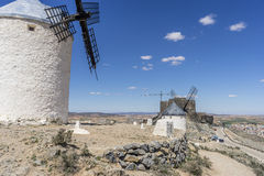Medieval, windmills of Consuegra in Toledo City, were used to gr Royalty Free Stock Photos