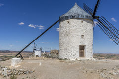 Medieval, windmills of Consuegra in Toledo City, were used to gr Stock Photography