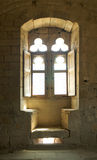 Medieval window. With seats of stone in the Castle of Arques stock image