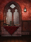 Medieval window and books. Medieval room with an ornamented window, old books and candles stock illustration