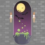 Medieval window in castle. Happy helloween card, vector illustration