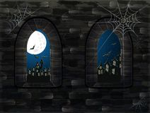 Free Medieval Window In Castle. Happy Halloween Card Stock Photo - 101158190