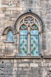 Medieval window in Placa del Rei, Barcelona, Catalonia, Spain royalty free stock photography