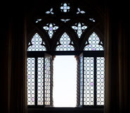 Medieval window silhouette Royalty Free Stock Images