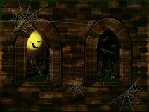 Medieval windows in magic castle with cemetery. Happy halloween background Royalty Free Stock Photography