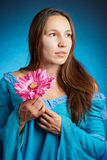 Medieval woman in a blue dress Royalty Free Stock Photo