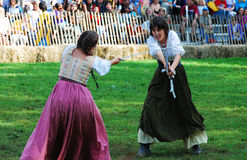 Medieval Woman Fight, New York City Royalty Free Stock Image