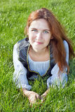 Medieval woman on the grass Stock Photos