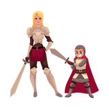 Medieval woman knight in metal suit and armor bearer, squire Stock Photo