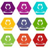 Medieval woman in tiara icon set color hexahedron Royalty Free Stock Photography