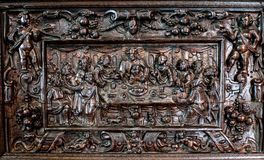 Medieval wood carving of The Last Supper. This is a Medieval wood carving of The Last Supper. This wood carving hangs in Bunratty Castle, county Clare Ireland Stock Photography