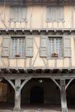 Medieval wood facade Mirapoix stock image