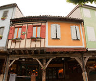 Medieval wood facade Mirapoix south France royalty free stock image