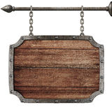 Medieval wood sign hanging on chains isolated