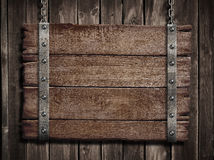 Medieval wood sign over old wooden plaque Royalty Free Stock Image